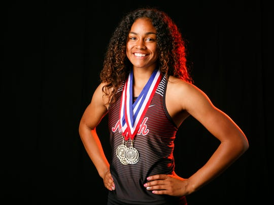 Maliyah Thompson, a North Salem High School athlete, is nominated for girls track and field player of the year for the Statesman Journal Mid-Valley Sports Award. Photographed at the Statesman Journal in Salem on Wednesday, May 16, 2018.
