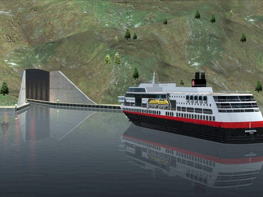 A ferry approaches the entrance of a tunnel for ships. Norway plans to build the world's first tunnel for ships, a 1,700-meter (5,610-feet) passageway burrowed through a piece of rocky peninsula that will allow vessels to avoid a treacherous part of sea.
