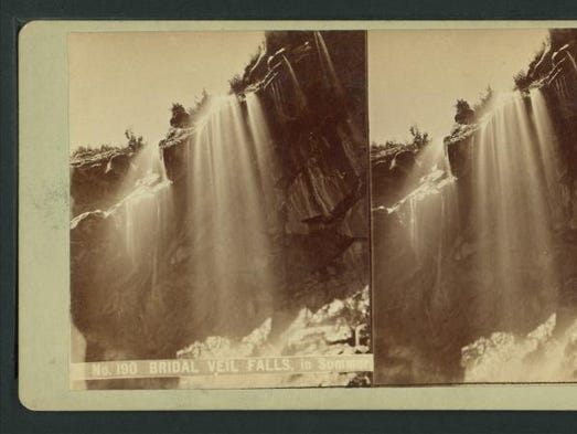 An 1880, stereoscopic view of the Yosemite Valley in