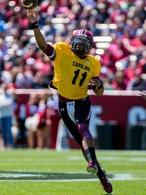 Gamecocks quarterback Brandon McIlwain passes during the 2016 Garnet & Black Game at Williams-Brice Stadium in Columbia, SC.