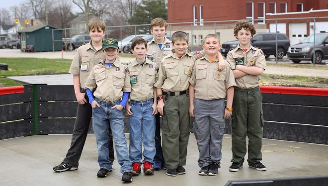 Boy Scouts Troop 316 after they built a new Gaga Ball pit at Oak Harbor Middle School.
