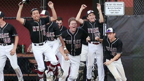 Nyack celebrates after defeating John Jay 3-2 on a walk-off hit in the eighth inning during a Class A first round baseball playoff game at Nyack High School May 21, 2018.