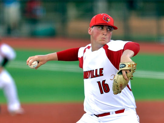 Louisville's Kyle Funkhouser pitches to Morehead State  during the second inning in the Louisville Regional of the NCAA college baseball tournament, Friday, May 29, 2015, in Louisville Ky.