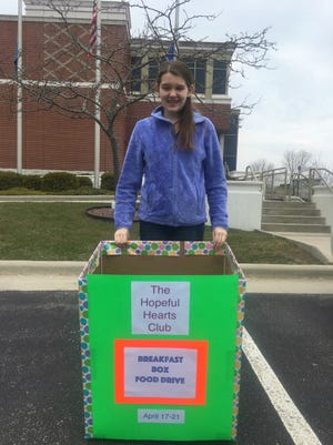 Manitowoc Wilson Junior High seventh-grader Lia Haile's Hopeful Hearts Breakfast Food Drive runs through Friday, with collection boxes at Manitowoc City Hall, Wilson Junior High School and the YMCA.