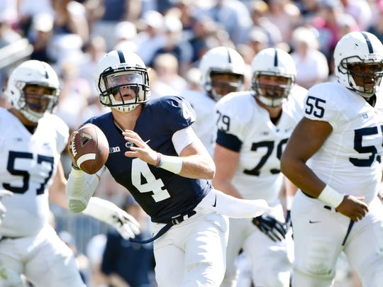 Penn State quarterback Tommy Stevens looks to pass