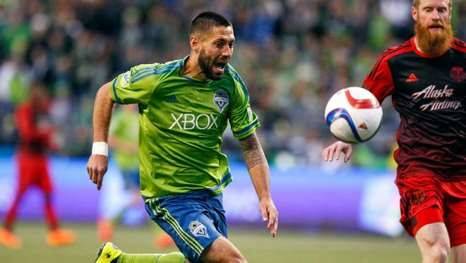 Seattle Sounders FC forward Clint Dempsey (2) reacts after losing possession of the ball against the Portland Timbers during the second half at CenturyLink Field.