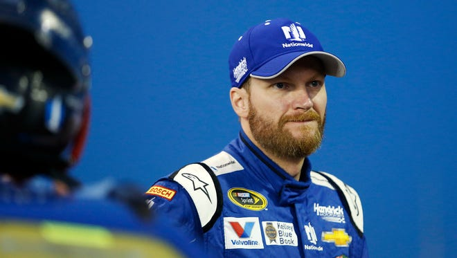 Sprint Cup Series driver Dale Earnhardt Jr. during qualifying for the Bank of America 500 at Charlotte Motor Speedway.