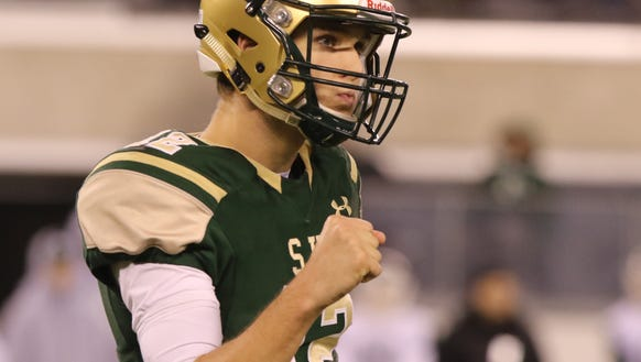 Quarterback, Nick Patti of St. Joseph after his offense