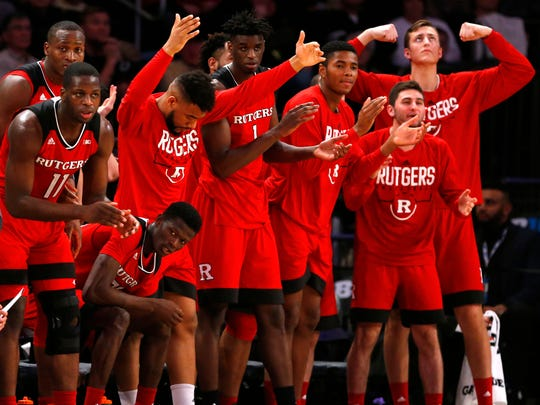 Rutgers Scarlet Knights players reacts during first half of 2018  Big Ten Tournament quarterfinals against Purdue Boilermakers at Madison Square Garden. Mandatory Credit: Noah K. Murray-USA TODAY Sports