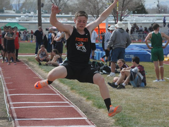 Fernley's Teron Unger competes in the long jump at the Yerington Relays last Saturday.