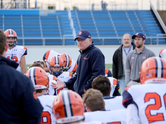 Former Gettysburg College football coach Barry Streeter addresses his team after he coached the final game of the 2017 season at Franklin and Marshall. Streeter retired after 42 years as a head and assistant coach with the Bullets.