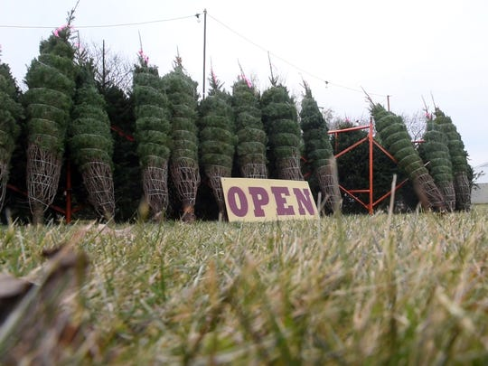 The Neiderer family sells Christmas trees at Radio road and High Street in an effort to help fund the fight against cancer for two locals.
