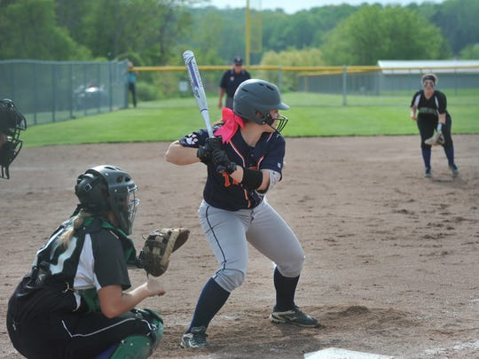 Galion's Kate Schieber waits for a pitch in the district semifinal.