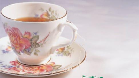 Tea in porcelain teacup