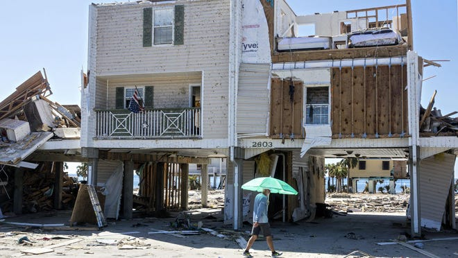 A home hit by Hurricane Michael stands in Mexico Beach Wednesday, October 17, 2018.