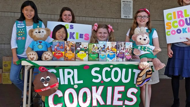 Members of Troop 48, from left: Sydney Encinosa, Claire Encinosa, Madi Westphal, Ava-Kay Trammel, Lilly Telfer, and Bryden Reeves.