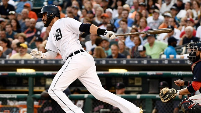 Tigers' J.D. Martinez singles in the fourth inning. Martinez went 2-for-3.