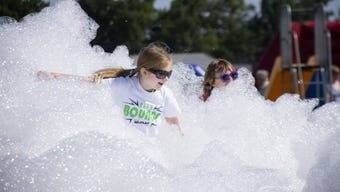 The Great Inflatable Race came to Shrewsbury Saturday. Check out the all the bouncing, foam, bubbles and other fun from the event.