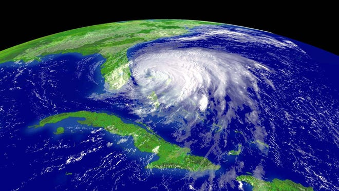 Hurricane Frances is seen approaching Florida in 2004.