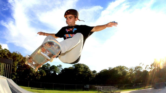 A skateboarder gets some big air off a ramp while skateboarding at Wadsworth Skate Park in Flagler Beach.