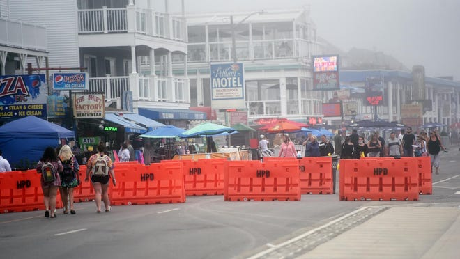 Hampton Beach was foggy Tuesday afternoon as a tropical storm headed up the coast.