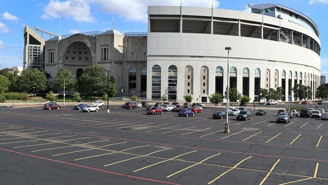 Football Saturdays this fall will look like it does at Ohio Stadium on Tuesday, August 11, 2020; football and all other fall sports have been canceled by the Big Ten.
