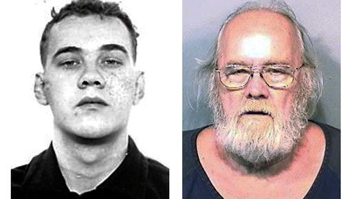This pair of photo shows shows Harold Frank Freshwaters, left, in a Feb. 26, 1959 Ohio State Reformatory photo released by the U.S. Marshals Service, and right, in a May 4, 2015, booking photo released by the Brevard County Sheriff's Office. Freshwaters, 79, of Akron, Ohio, was arrested by U.S. Marshals Monday, May 4, 2015 by in Melbourne, Fla. He was convicted of voluntary manslaughter for killing a pedestrian with his car in 1957. Freshwaters initially received a suspended sentence but was imprisoned in 1959 for a parole violation. He fled a prison farm in northwest Ohio later that year. (AP Photo/Ohio State Reformatory and Brevard County Sheriff's Office)