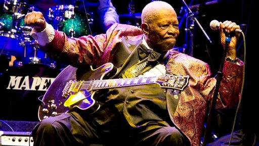 FILE - In this Nov. 11, 2011, file photo, B.B. King performs at Club Nokia in Los Angeles. A funeral director says he's prepared for lines around the block for a public viewing of blues legend King in Las Vegas. King died May 14, 2015, at age 89, and the open-casket event from 3 to 7 p.m. Friday, May 22, at Palm South Jones Mortuary begins a week-long series of memorials.