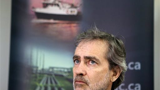 Marc Andre Poisson, Director of Marine Investigations for Canada's Transportation Safety Board, speaks during a news conference on the latest developments about the Leviathan II sinking in Tofino, British Columbia, Monday, Oct. 26, 2015. The whale watching boat with over two dozen people on board sank Sunday off Vancouver Island, the British Foreign Minister said Monday, killing multiple people. (Chad Hipolito/The Canadian Press via AP) MANDATORY CREDIT