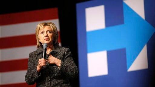 Democratic presidential candidate Hillary Clinton speaks during a campaign event at Iowa State University in Ames, Iowa, Tuesday, Jan. 12, 2016.