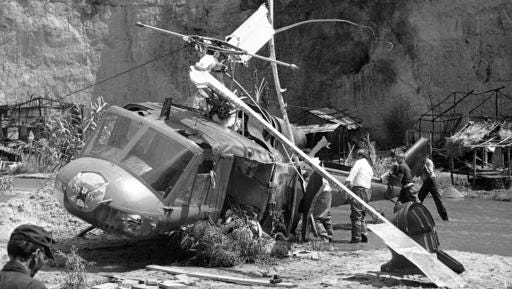 "FILE - This July 23, 1982 file photo shows the crash site where actor Vic Morrow and two children were killed during the filming of movie ""The Twilight Zone"" in Santa Clarita, Calif. The accident shook the film industry and led to new safety standards for the use of choppers."