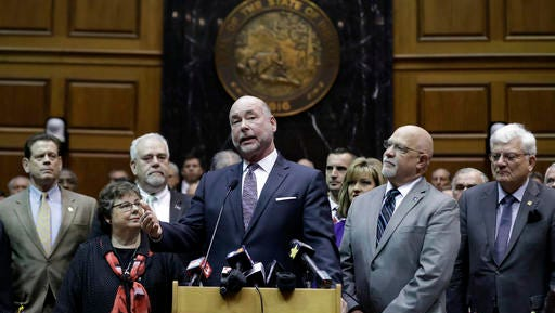 Speaker of the House Brian Bosma, R-Indianapolis, speaks during a news conference in the House chamber at the Statehouse Wednesday, Jan. 4, 2017, in Indianapolis. The House Republicans unveiled their agenda for this year's legislative session, including their plan to fund infrastructure improvements across Indiana for years to come. (AP Photo/Darron Cummings)