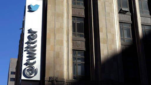 FILE - This Nov. 4, 2013, file photo shows the sign outside of Twitter headquarters in San Francisco. Twitter announced Thursday, Feb. 9, 2017, that the company is struggling to convert its headline omnipresence into cash and its profit expectations going forward is sending investors scattering.