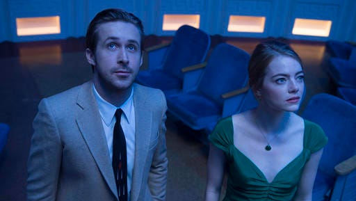 """This image released by Lionsgate shows Ryan Gosling, left, and Emma Stone in a scene from, """"La La Land.""""  The film is nominated for an Oscar for best feature film."""