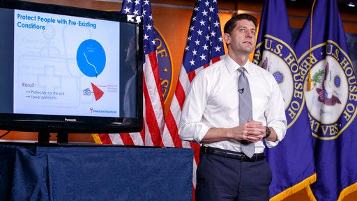 House Speaker Paul Ryan of Wis. uses charts and graphs to make his case for the GOP's long-awaited plan to repeal and replace the Affordable Care Act on March 9 during a news conference on Capitol Hill in Washington.