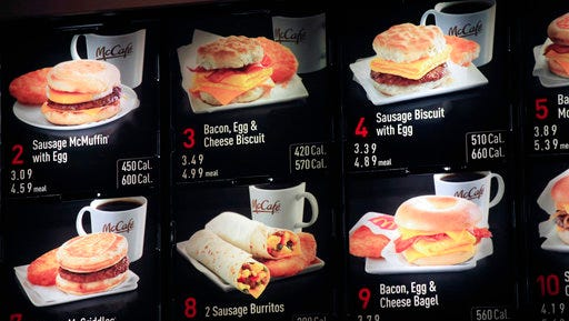 FILE - In this Sept. 12, 2012 file photo, items on the breakfast menu, including the calories, are posted at a McDonald's restaurant in New York. Facing a May 5, 2017 compliance deadline set by the Food and Drug Administration last year, some restaurants and other establishments are eyeing a massive spending bill that Congress will have to pass in the next week to keep the government open and hope to either delay the menu labeling rules again or include legislation in the larger bill that would revise the law and make it easier for some businesses to comply.