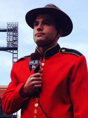 """Joey Votto interviews with the MLB Network's """"Intentional Talk"""" in 2014 dressed up like a Mountie."""