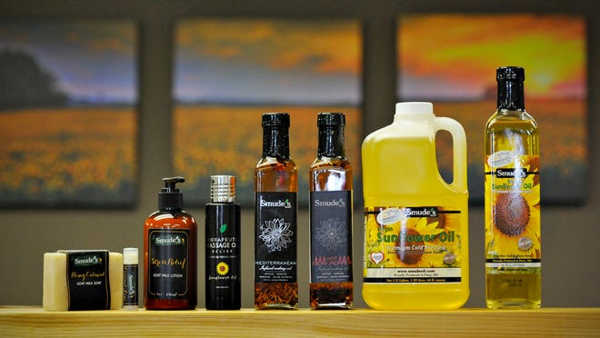 Smude's Sunflower Oil  presses and bottles its products at a plant in Pierz.
