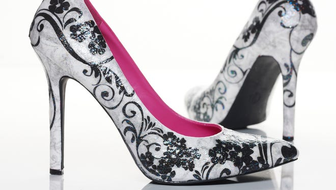 High-heel shoes are decoupaged using Mod Podge Sparkle.