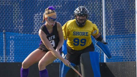 Shore Regional senior goalie Molly Santi watches Rumson-Fair Haven's Bridy Molyneaux dribble the ball in a nondivisional game on Sep. 8, 2016.