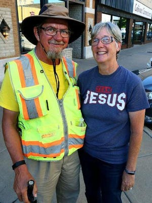 Glenn Koster of Hutchinson, pictured with his wife Charice during a stop at home last year during a 4,200 mile trek across the country, is doing a fundraiser this weekend for local foster care agencies.