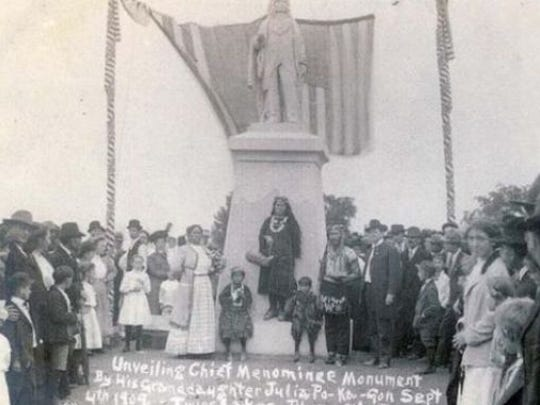 Unveiling and dedication of Chief Menominee monument on Sept. 4, 1909, in Plymouth, Indiana.