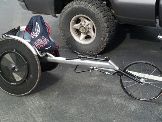 Paralympic athlete Erik Hightower's stolen customized wheelchair was returned July 8, 2014.