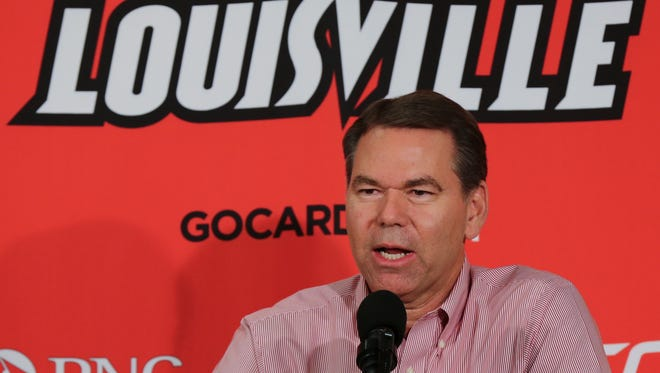 U of L interim Athletic Director Vince Tyra addressed the media as he talked about restructuring, staffing and donors for the athletic department.  Feb. 8, 2018