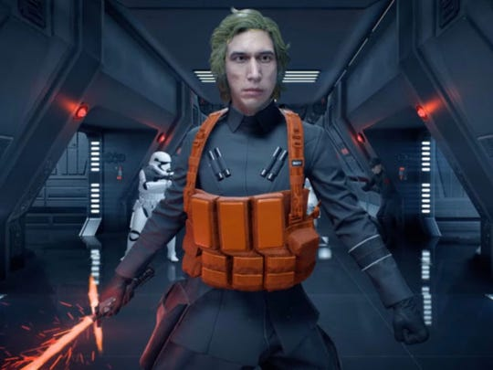 """Star Wars Battlefront II,"" an action shooter video game by Electronic Arts, that includes a mod allowing the Kylo Ren character to be changed to Matt the Technician."