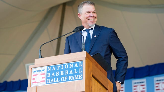 Chipper Jones kept one eye on his pregnant wife during his Hall of Fame induction speech Sunday.
