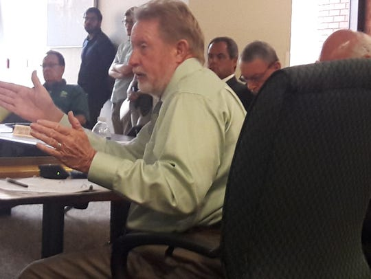 Larry Kiker makes a point at a workshop meeting of the Lee County commission.  Kiker died April 23 of cancer. Several candidates are applying to Gov. Ron DeSantis for appointment as his successor. The governor will appoint a successor.