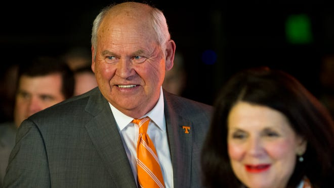 Phillip Fulmer enters the press conference with University of Tennessee Chancellor Beverly Davenport on Friday, Dec. 1, 2017 after being named acting athletic director at the University of Tennessee.
