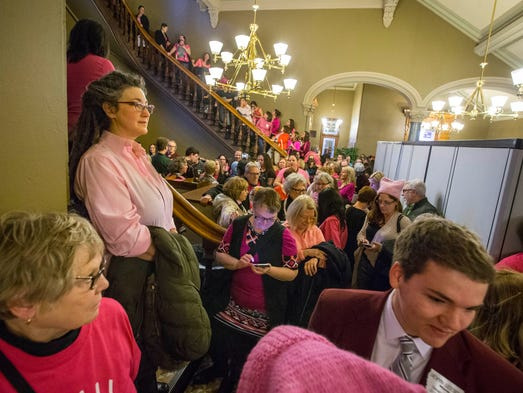 Planned Parenthood supporters gather outside the  Senate