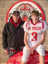 St. Philip head coach Dave Downey with his son David.